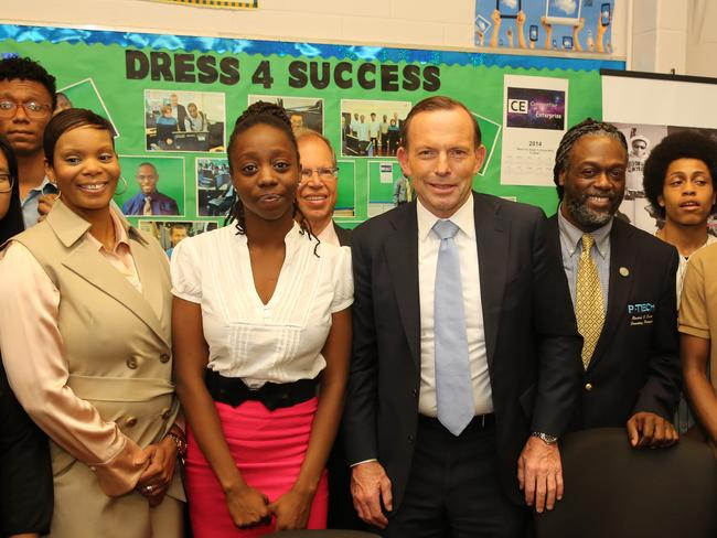 Dressed for success ... Prime Minister Tony Abbott with staff and students at P-Tech High School in Brooklyn, New York City. Picture: Josh Wilson/Office of The Prime Minister