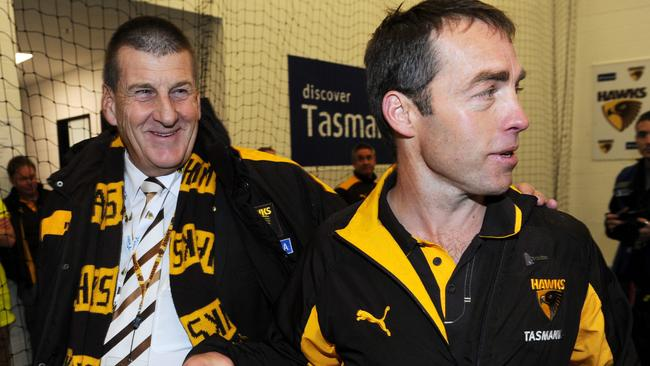Jeff Kennett with Alastair Clarkson during his time as Hawthorn president.