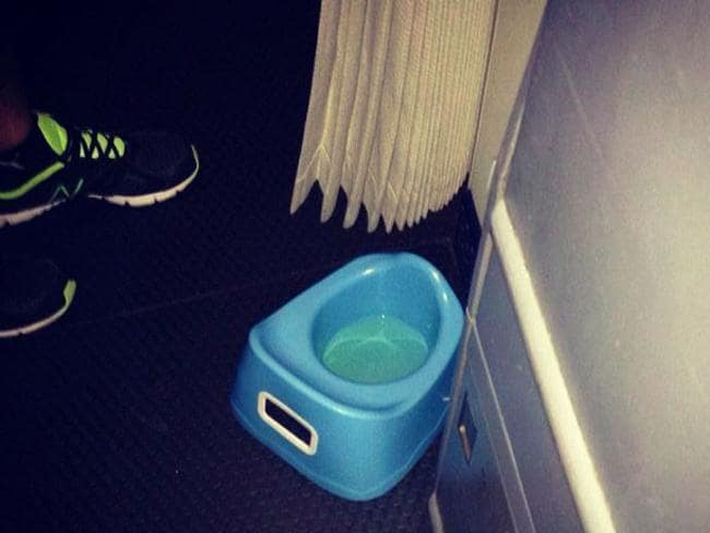 10. Yes, that's a potty. Yes, it's full of urine. Picture: Passenger Shaming
