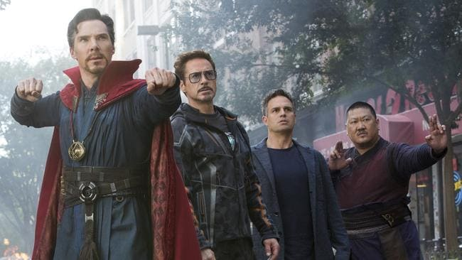 Star power … Doctor Strange (Benedict Cumberbatch), Iron Man (Robert Downey Jr) Bruce Banner (Mark Ruffalo) and Wong (Benedict Wong) join forces. Picture: Chuck Zlotnick/Marvel Studios