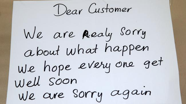 Note left for customers on the front window of the closed Box Village Bakery in Sylvania where a mass outbreak of food poisoning occurred over the Australia Day weekend. Picture: Jonathan Ng