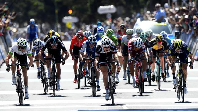 Nikias Arndt pips Simon Gerrans and Cameron Meyer for the Cadel Evans Great Ocean Road Race earlier this year.