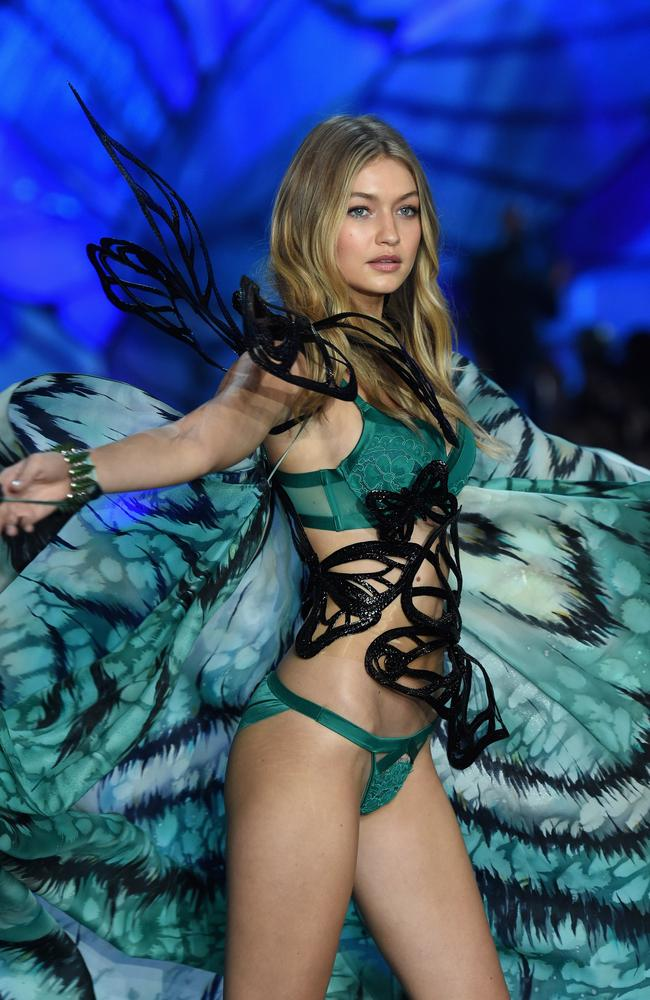 Hadid at 2015's Victoria Secret Show with a noticeably different figure.