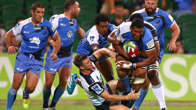 Sitiveni Mafi of the Force pushes forward during the round nine Super Rugby match between the Force and the Waratahs.