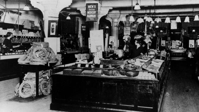 The interior of 'Woolworths Stupendous Bargain Basement' on Sydneys Castlereagh St in 1924.