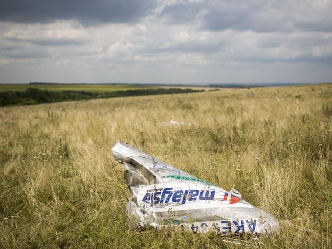 Wreckage from Malaysia Airlines flight MH17 lies in a field on July 22, 2014 in Grabovo, Ukraine. Picture: Getty