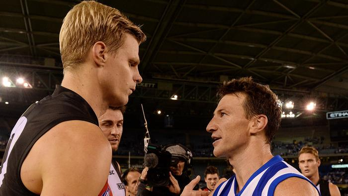 AFL Round 10: North Melbourne v St. Kilda at Etihad Stadium Melbourne 2nd June 2013, Nick Riewoldt with Brent Harvey after the match