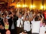 Delighted German fans watching the World Cup Final at the German Club. Picture: Simon Cross