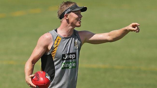 Jack Riewoldt makes a point at Richmond training.