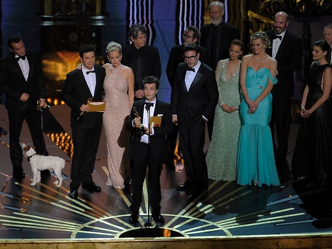 Producer Thomas Langmann speaks after accepting the Oscar for best picture for The Artist. Picture: AP