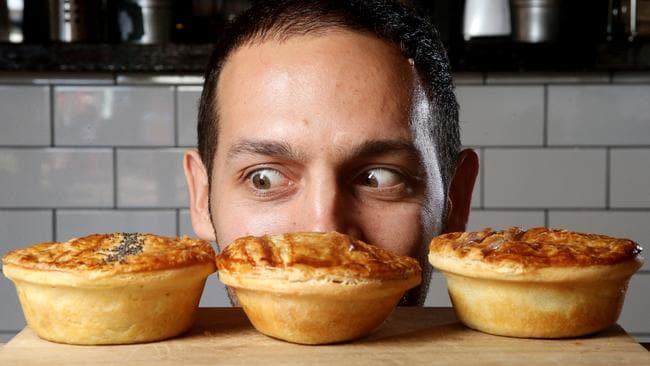 Donny Tiani from Butterfingers in North Adelaide with some of his pies. Picture: Calum Robertson