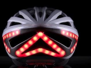 The helmet's design includes break lights to alert drivers behind you of your intention to stop.