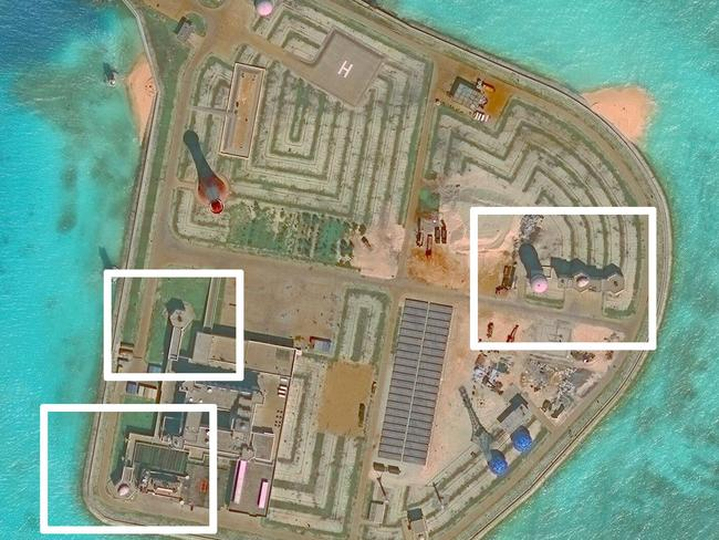 Anti-aircraft and antimissile systems can be seen on one of the artificial islands. Picture: CSIS