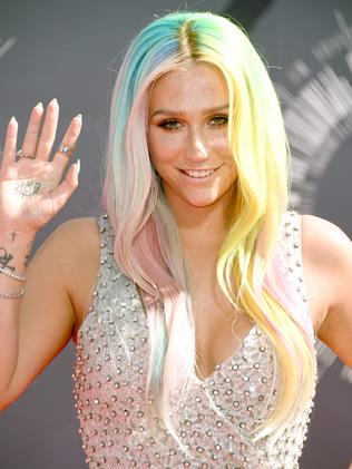 Kesha, with hair by My Little Pony. Picture: Getty