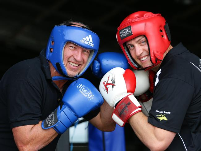 Trainers Robert Heathcote (left) and Tony Gollan fighting it out in and out of the boxing ring. Picture: Darren England