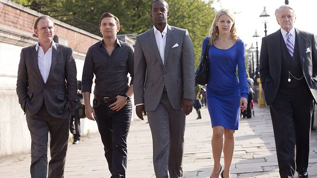Actors (from left) Robert Glenister, Matt Di Angelo, Adrian Lester, Kelly Adams and Robert Vaughan in TV series Hustle. Picture: Supplied