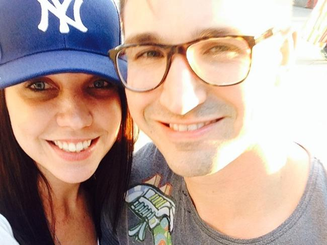 Getting hitched in New York ... MKR bully Chloe James with fiancee Luke Hartin at the Yankees. Picture: Instagram