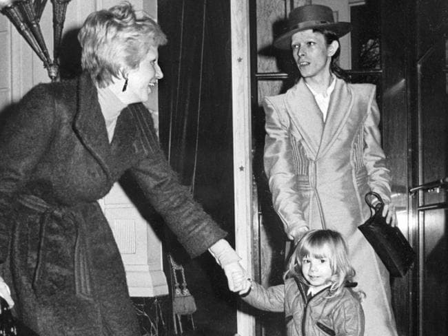 "The way they were ... David Bowie, with his ex-wife Angela (Angie) and his son Zowie, after receiving an award for his latest record ""Ziggy Stardust"" in Amsterdam. Picture: AFP"