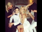 "Behind The Scenes Emmy Awards 2014... Model Heidi Klum posts, ""Last minute touch up with @lindahaymakeup @cwoodhair @tombachik @zac_posen"" Picture: Instagram"