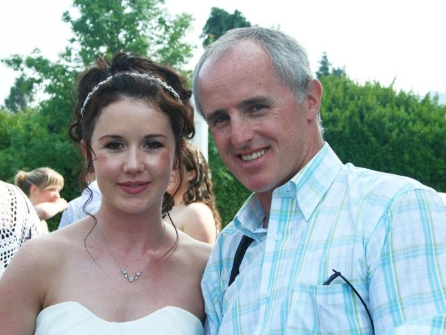 Murdered Irish woman Jill Meagher pictured on her wedding day with her uncle from Michael McKeon. Photo: Ciara Wilkinson