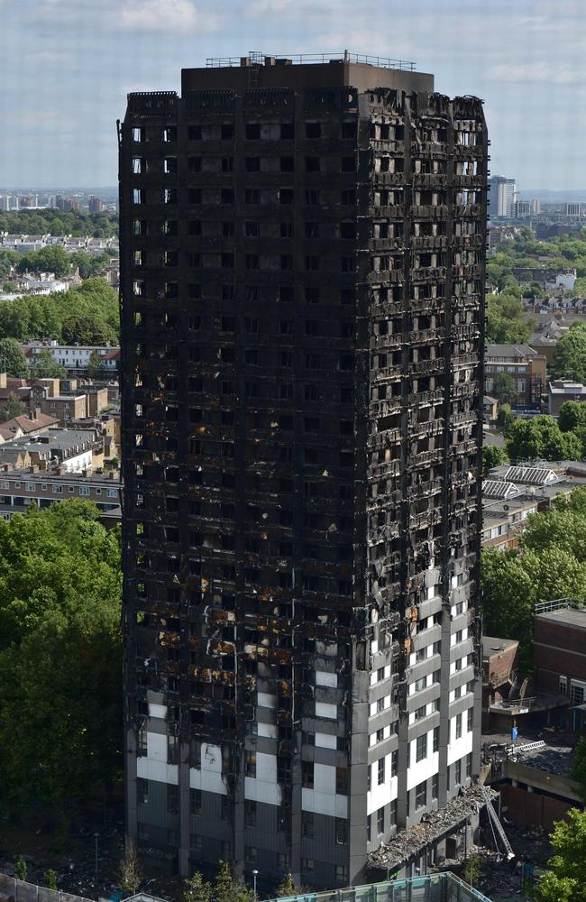 The remains of Grenfell Tower, a residential tower block in west London which was gutted by fire. Picture: AFP