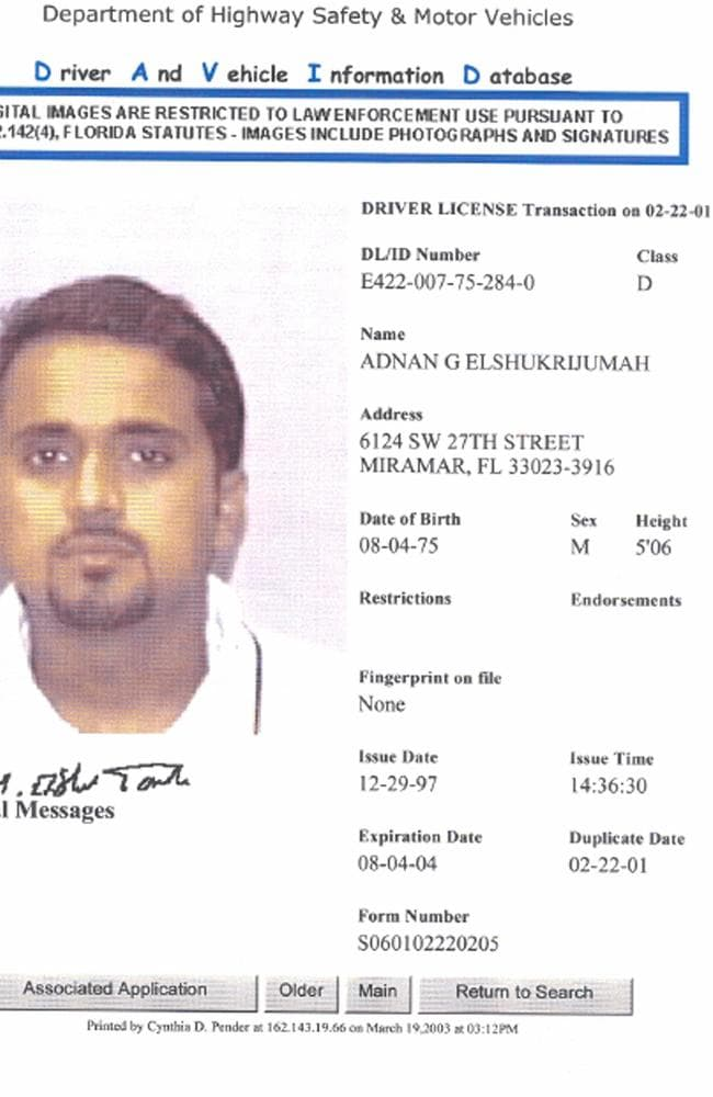 Top al qaeda chief adnan shukrijumah killed in military raid for Fl department of highway safety and motor vehicles