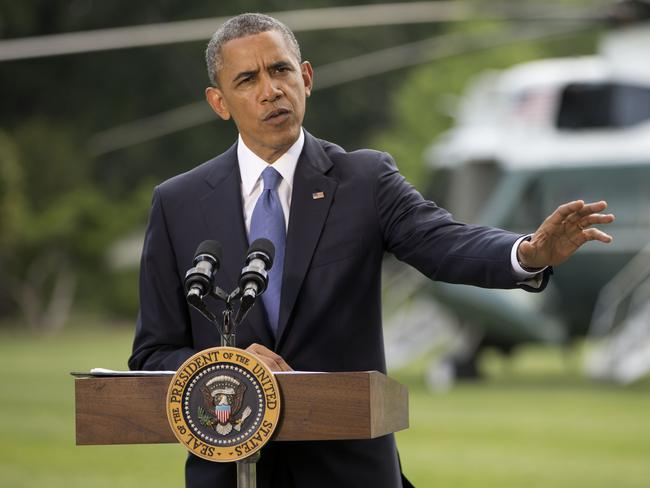 President Barack Obama talks about his administration's response to a growing insurgency foothold in Iraq on the South Lawn of the White House in Washington. Picture: AP/Pablo Martinez Monsivais