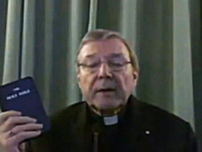 On the stand ... Cardinal George Pell giving evidence via video link to the Royal Commission. Picture: Supplied