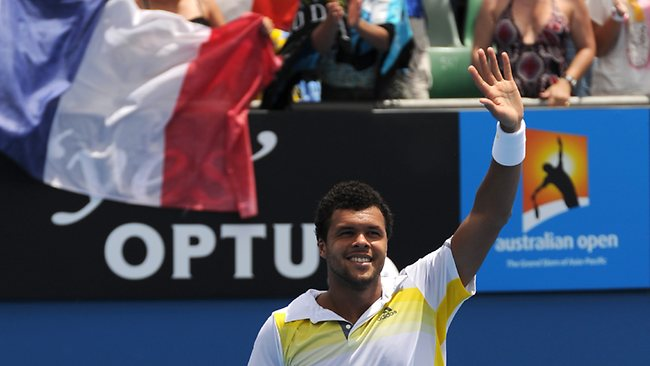 France's Jo-Wilfried Tsonga reacts after victory in his men's singles match against Japan's Go Soeda on the fourth day of the Australian Open.