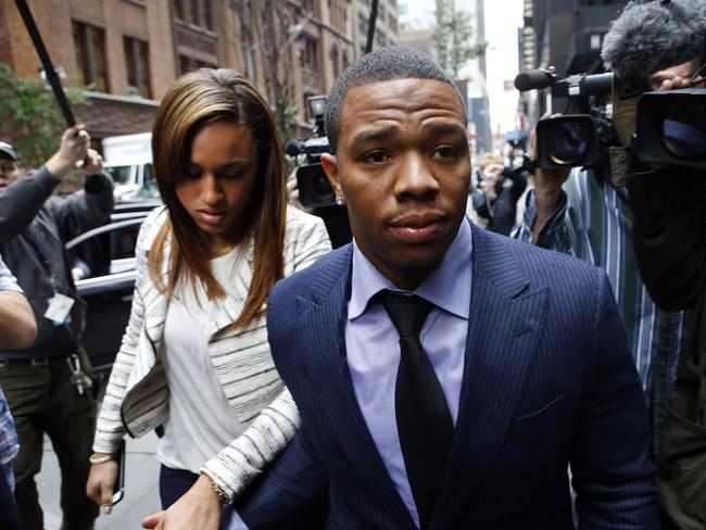 Rice and his wife arrive for the appeal hearing for his indefinite suspension.
