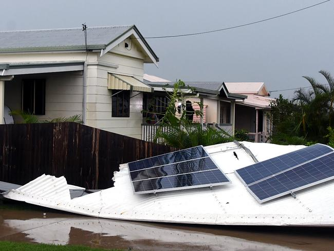 Damage seen in the town of Bowen, Queensland. Picture: Sarah Motherwell/AAP