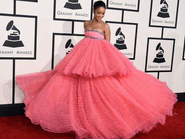 Frock shock ... Rihanna arrives. Picture: Jordan Strauss/Invision/AP