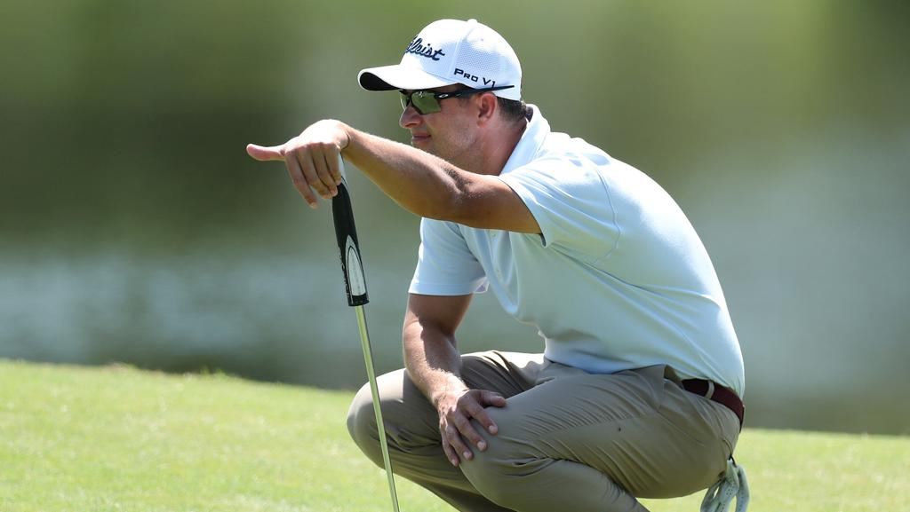 Adam Scott in action at the Australian PGA Championship at Royal Pines on the Gold Coast. Picture: Scott Fletcher