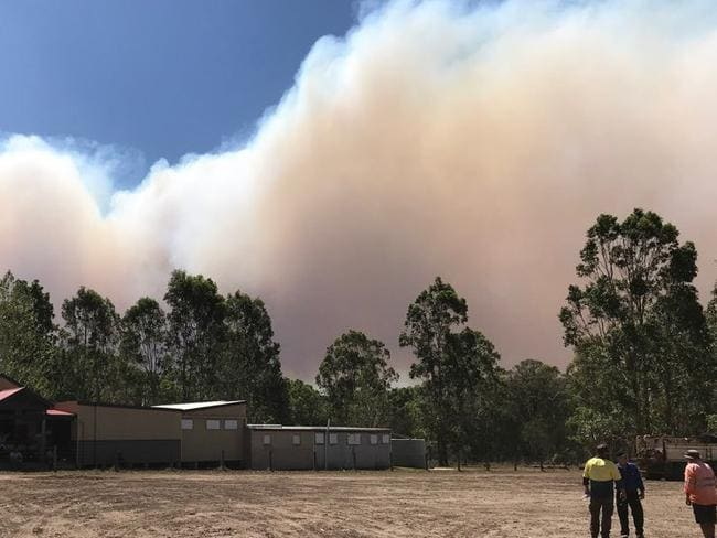 The bushfire looms near Putty. Picture: Supplied