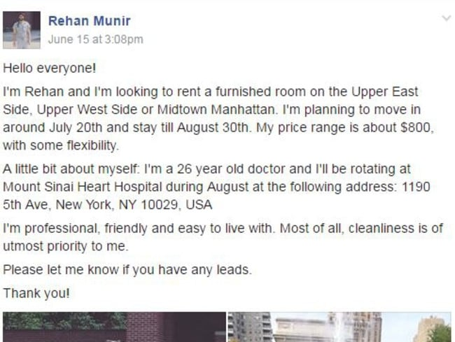 Rehan Munir's Facebook post on Gypsy Housing.