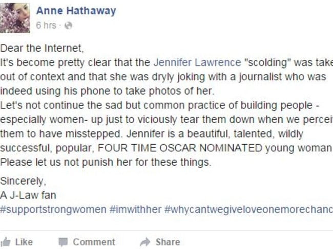Hathaway's post in defence of Jennifer Lawrence has so far gained nearly 51,000 likes and over 1,500 shares.