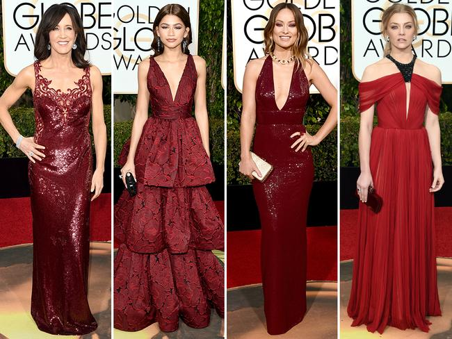 Fiery red ... Felicity Huffman, Zendaya, Olivia Wilde and Natalie Dormer. Picture: Getty