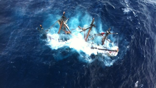 This photo provided by the US Coast Guard shows the HMS Bounty, a 180-foot sailboat, submerged in the Atlantic Ocean during Hurricane Sandy. Picture: AP