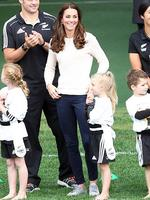 <p>Duchess of Cambridge laughs while Prince William, Duke of Cambridge celebrates his team scoring a try with All Blacks captain Richie McCaw at Forsyth Barr Stadium, Dunedin. Picture: Getty</p>