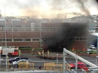 Fire crews attend the blaze at the XXXX brewery in Milton. Picture: Lilly Sophia