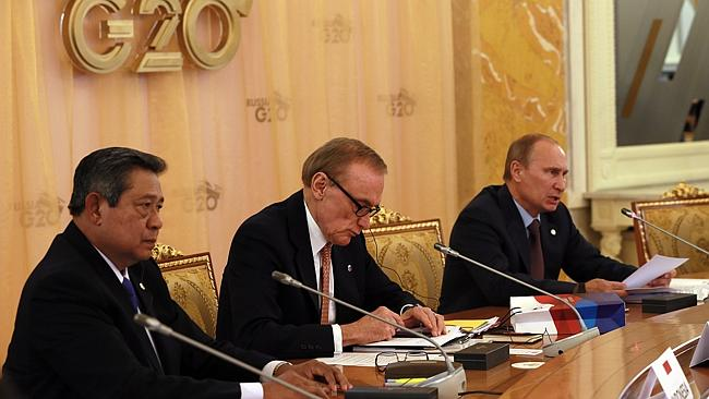 Indonesia Presiden Susilo Bambang Yudhoyono, Bob Carr and Russian President Vladimir Putin at the second working meeting of G20 heads of state and government. Picture: ELLA PELLEGRINI