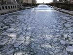 Chunks of ice cover the Chicago River Thursday, Jan. 4, 2018, in Chicago. Sub-zero to single-digit temperatures combined with blustery northwest winds are predicted to create dangerous wind chill conditions in Chicago. Picture: AP Photo/Nam Y. Huh