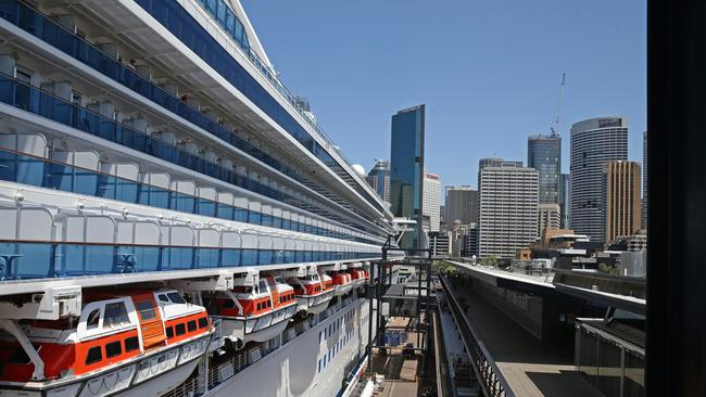 Cruise ship Diamond Princess docked in Sydney prior to today's outbreak. Picture Cameron Richardson.