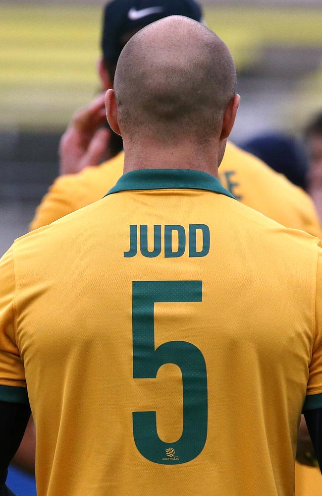 Judd and the Blues were decked out in Socceroos-coloured uniforms at training on Thursday. Picture: Wayne Ludbey