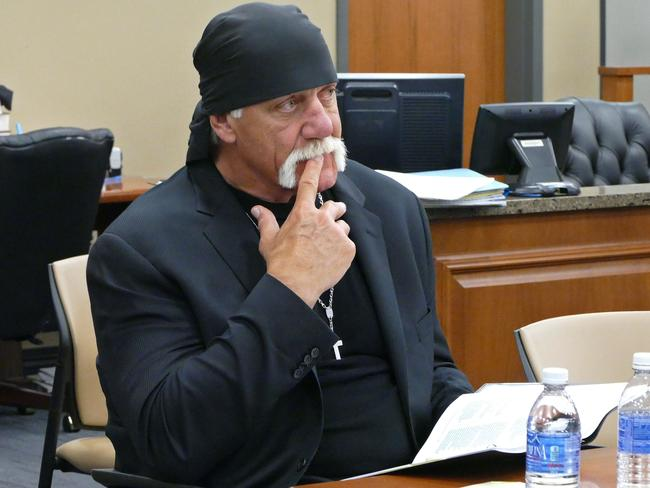 Hogan, watches potential jurors at the Pinellas County Courthouse. Picture: AP.