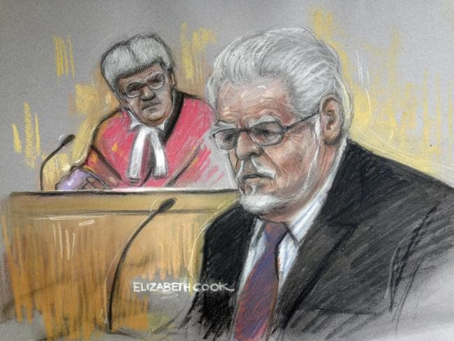 On trial ... an artist drawing by Elizabeth Cook of Rolf Harris in the dock at Southwark Crown Court.