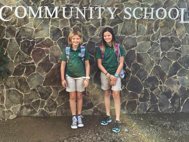 Gary's daughters are two of the newest students at La Paz Community School. Picture: Gary Burchett