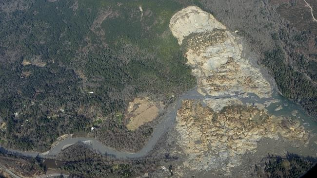 Washed away ... At least 14 people were killed when the mudslide swept through Oso. Pictu