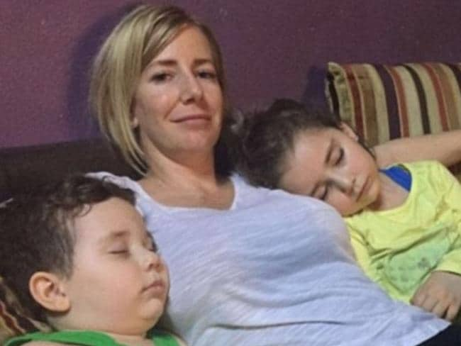 Sally Faulkner with her two children, Noah, four, and Lahela, five. Sally has been arrested after an attempt to abduct her children from her former husband failed.