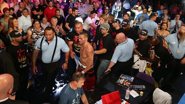 Anthony Mundine storms off after his defeat by Daniel Geale. Picture: Brett Costello